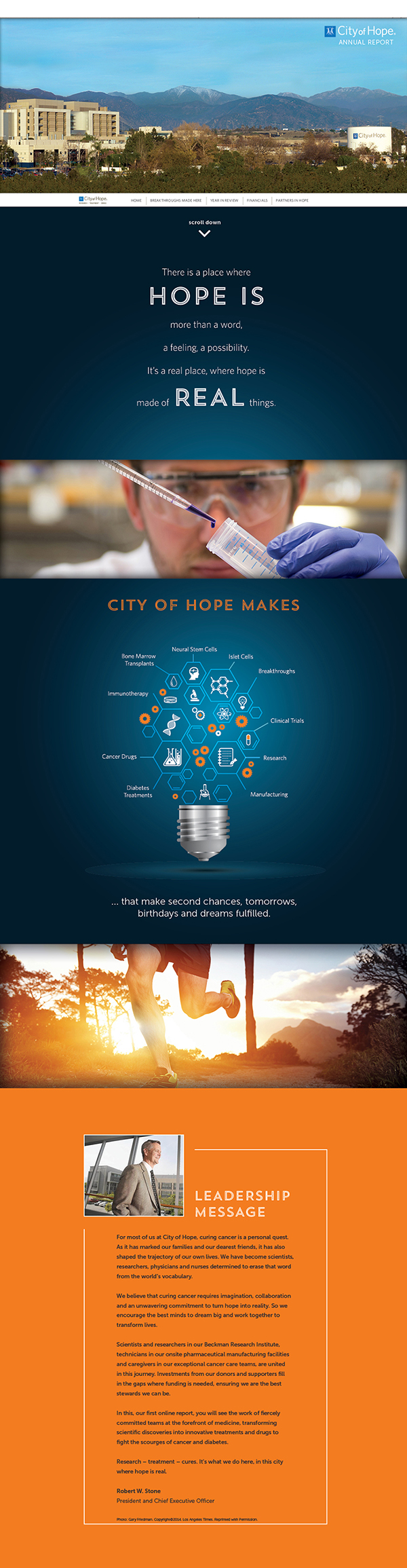City of Hope 2013 Annual Report microsite